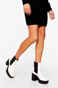 Nasty Gal Chunky Heel Faux Leather Platform Boots
