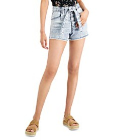 Juniors' Belted Button-Fly Denim Shorts