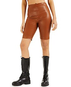 CULPOS X Faux-Leather Biker Shorts, Created for Ma