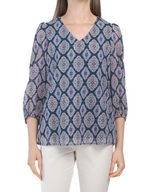 Puff Sleeve Foil Printed Blouse