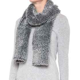 dylan Knitted Faux-Fur Scarf (For Women) in Navy