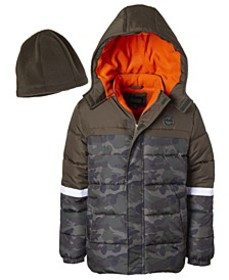 Toddler Boys Camouflage Puffer Jacket with Fleece
