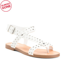 Studded Leather Flat Sandals