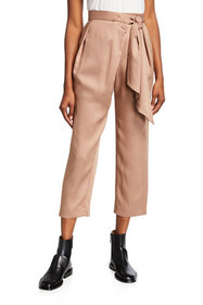 Mother of Pearl Twill Wrap Trousers with Belt