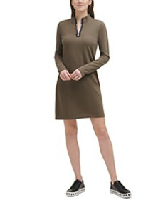 French Terry Mock-Neck Dress