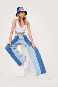 Nasty Gal Wide Leg Colorblock Two Tone Jeans