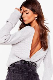 Nasty Gal Backless Long Sleeve Knit Sweater