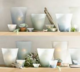 Pottery Barn Laguna Frosted Glass Candleholders