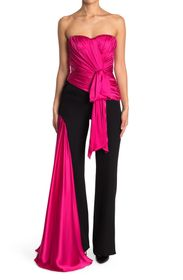 MOSCHINO Ruched Cape Unitard Jumpsuit