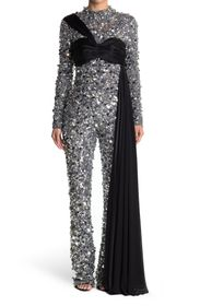 MOSCHINO Sequined Mock Neck Gown