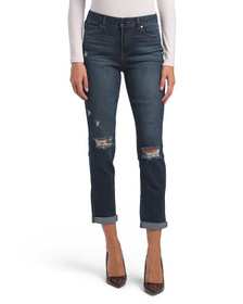 High Waisted Recycled Destructed Girlfriend Jeans