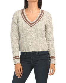 Juniors V-neck Tipped Trim Pullover Sweater