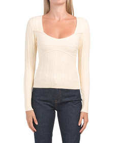 Cable Knit Sweetheart Neckline Sweater