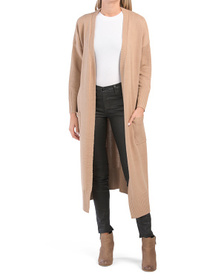 Plus Open Cardigan Duster With Pockets