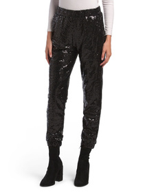 Sequin Joggers With Side Pockets