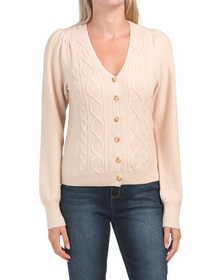 Front Button Puff Shoulder Sweater