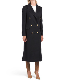 Made In Italy Wool Long Gold Button Coat