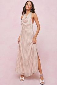 Nasty Gal Checked Cowl Front Halter Neck Midi Dres