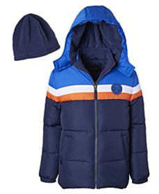Little Boys Color Blocked Puffer Jacket with Fleec