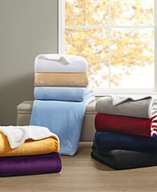 Sherpa Plush Blanket Collection, Created for Macy'