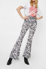 Nasty Gal Abstract Print High Waisted Flares