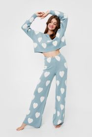 Nasty Gal Knitted Heart Sweater and Pants Lounge S
