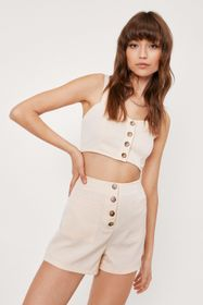 Nasty Gal Button Down Crop Top And Pocket Short Se
