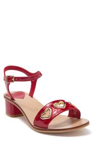 LOVE MOSCHINO Heart Grommet Patent Ankle Strap San