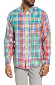 TOMMY BAHAMA Mahal Madras Plaid Linen Button-Up Sh